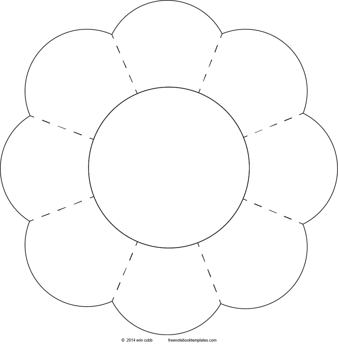 Fun shapes 8 petal flower free notebook templates for Flower template 5 petals
